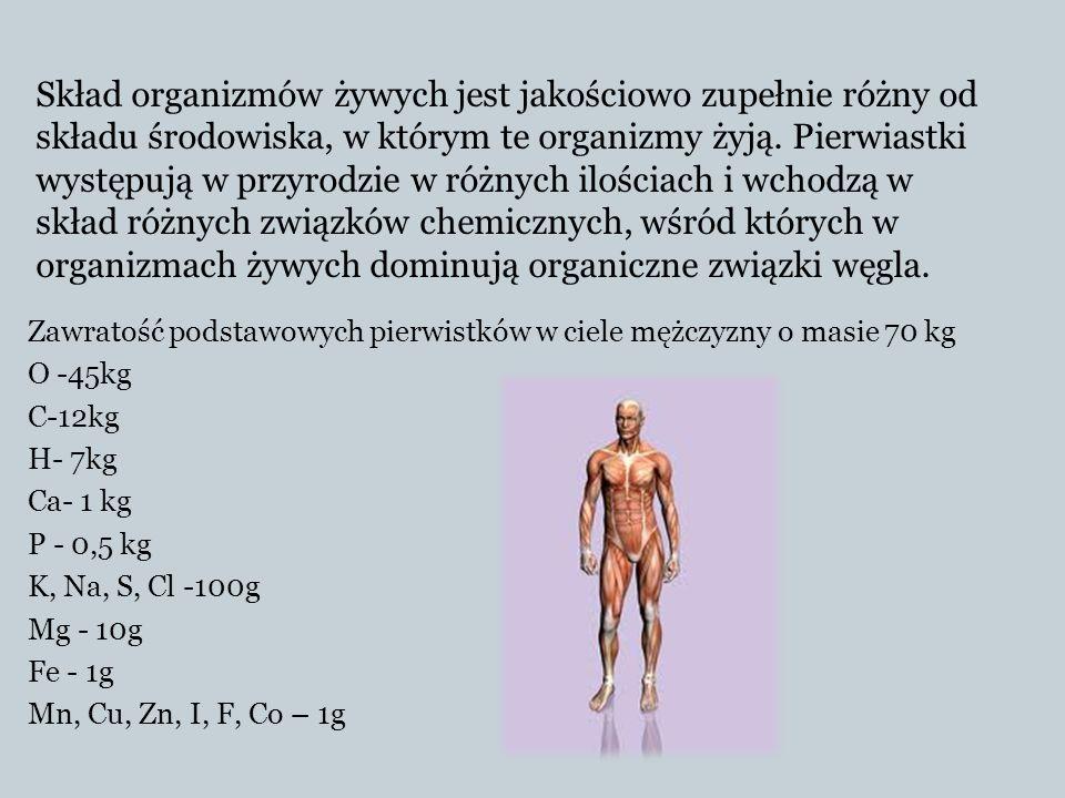 Zawratość podstawowych pierwistków w ciele mężczyzny o masie 70 kg O -45kg C-12kg H- 7kg Ca- 1 kg P - 0,5 kg K, Na, S, Cl -100g Mg - 10g Fe - 1g Mn, C
