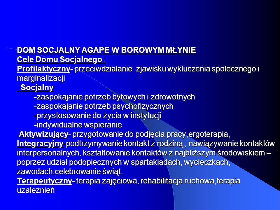 DOM SOCJALNY AGAPE W BOROWYM MŁYNIE Cele Domu Socjalnego : Profilaktyczny- przeciwdziałanie zjawisku wykluczenia społecznego i marginalizacji Socjalny