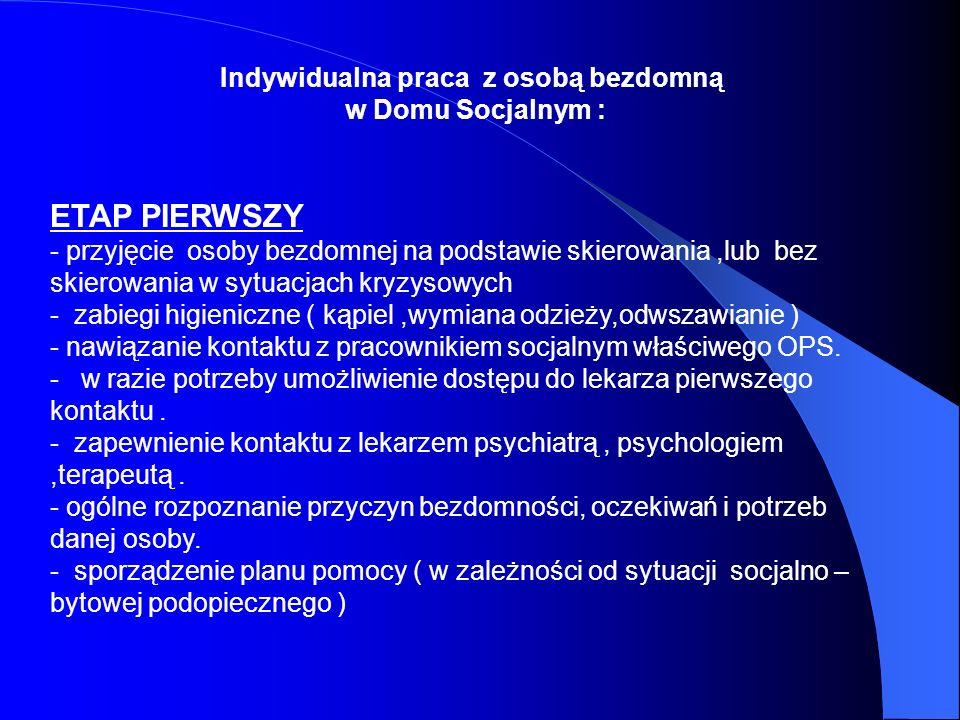 Indywidualna praca z osobą bezdomną w Domu Socjalnym : ETAP PIERWSZY - przyjęcie osoby bezdomnej na podstawie skierowania,lub bez skierowania w sytuac
