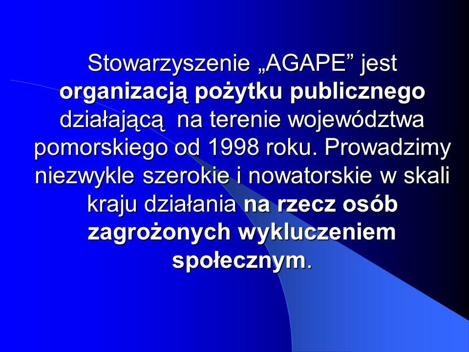 Stowarzyszenie AGAPE jest organizacją pożytku publicznego działającą na terenie województwa pomorskiego od 1998 roku. Prowadzimy niezwykle szerokie i