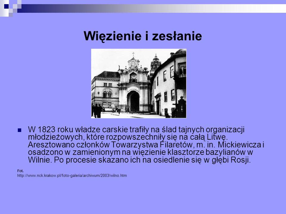 Więzienie i zesłanie W 1823 roku władze carskie trafiły na ślad tajnych organizacji młodzieżowych, które rozpowszechniły się na całą Litwę. Aresztowan