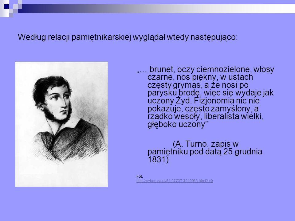 Według relacji pamiętnikarskiej wyglądał wtedy następująco: … brunet, oczy ciemnozielone, włosy czarne, nos piękny, w ustach częsty grymas, a że nosi