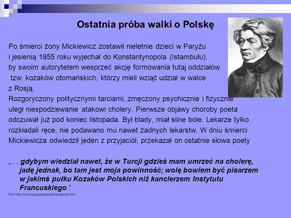 Ostatnia próba walki o Polskę Po śmierci żony Mickiewicz zostawił nieletnie dzieci w Paryżu i jesienią 1855 roku wyjechał do Konstantynopola (Istambuł