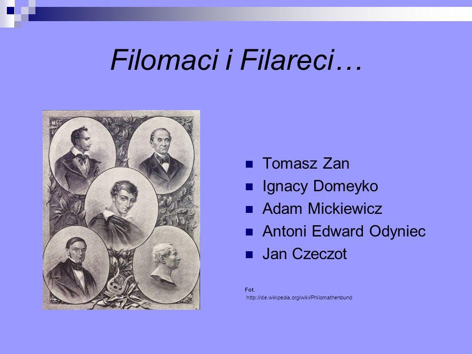 Filomaci i Filareci… Tomasz Zan Ignacy Domeyko Adam Mickiewicz Antoni Edward Odyniec Jan Czeczot Fot. http://de.wikipedia.org/wiki/Philomathenbund