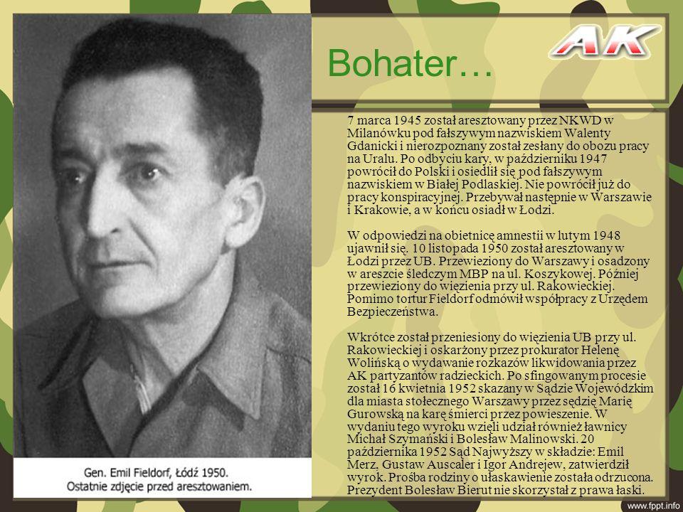 7 marca 1945 został aresztowany przez NKWD w Milanówku pod fałszywym nazwiskiem Walenty Gdanicki i nierozpoznany został zesłany do obozu pracy na Ural