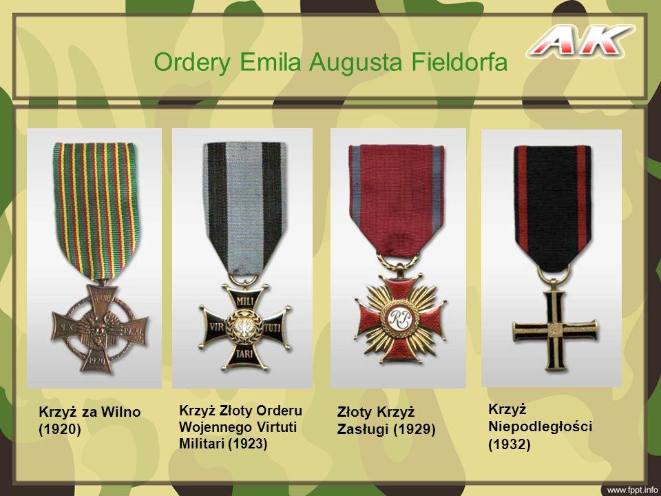 Krzyż za Wilno (1920) Złoty Krzyż Zasługi (1929) Krzyż Złoty Orderu Wojennego Virtuti Militari (1923) Krzyż Niepodległości (1932) Ordery Emila Augusta
