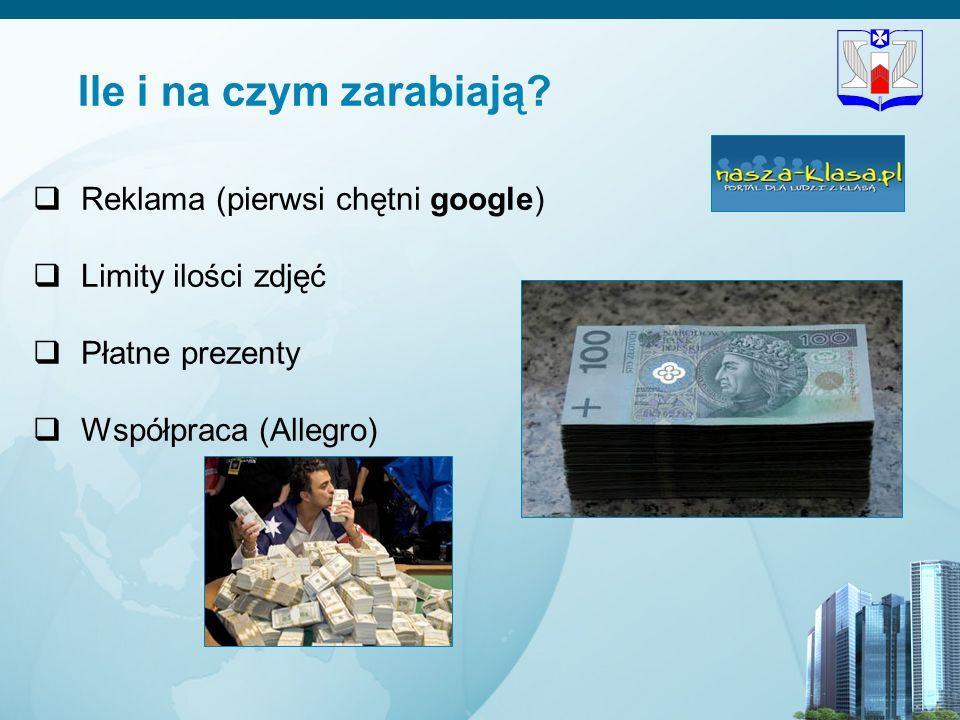 11 Ile i na czym zarabiają? Reklama (pierwsi chętni google) Limity ilości zdjęć Płatne prezenty Współpraca (Allegro)