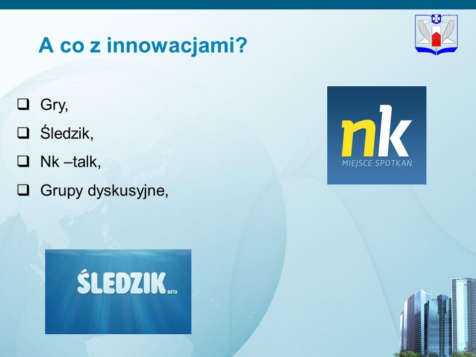 12 A co z innowacjami? Gry, Śledzik, Nk –talk, Grupy dyskusyjne,