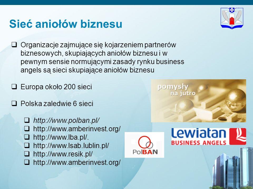 19 Sieć aniołów biznesu Organizacje zajmujące się kojarzeniem partnerów biznesowych, skupiających aniołów biznesu i w pewnym sensie normującymi zasady