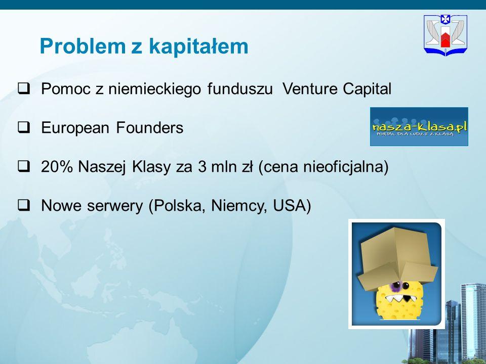 9 Problem z kapitałem Pomoc z niemieckiego funduszu Venture Capital European Founders 20% Naszej Klasy za 3 mln zł (cena nieoficjalna) Nowe serwery (P