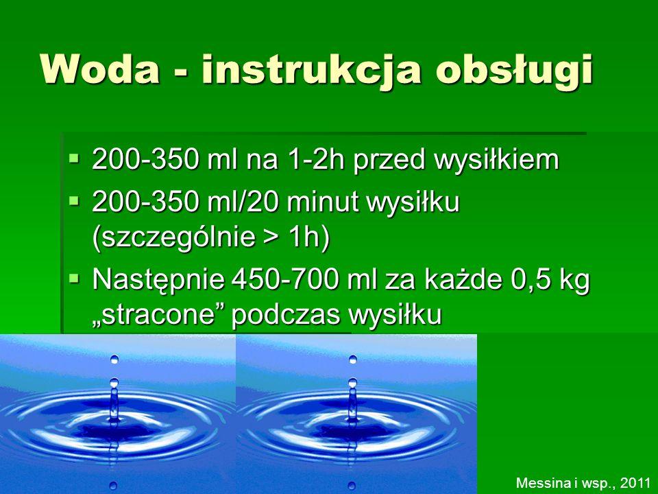 Woda - instrukcja obsługi 200-350 ml na 1-2h przed wysiłkiem 200-350 ml na 1-2h przed wysiłkiem 200-350 ml/20 minut wysiłku (szczególnie > 1h) 200-350