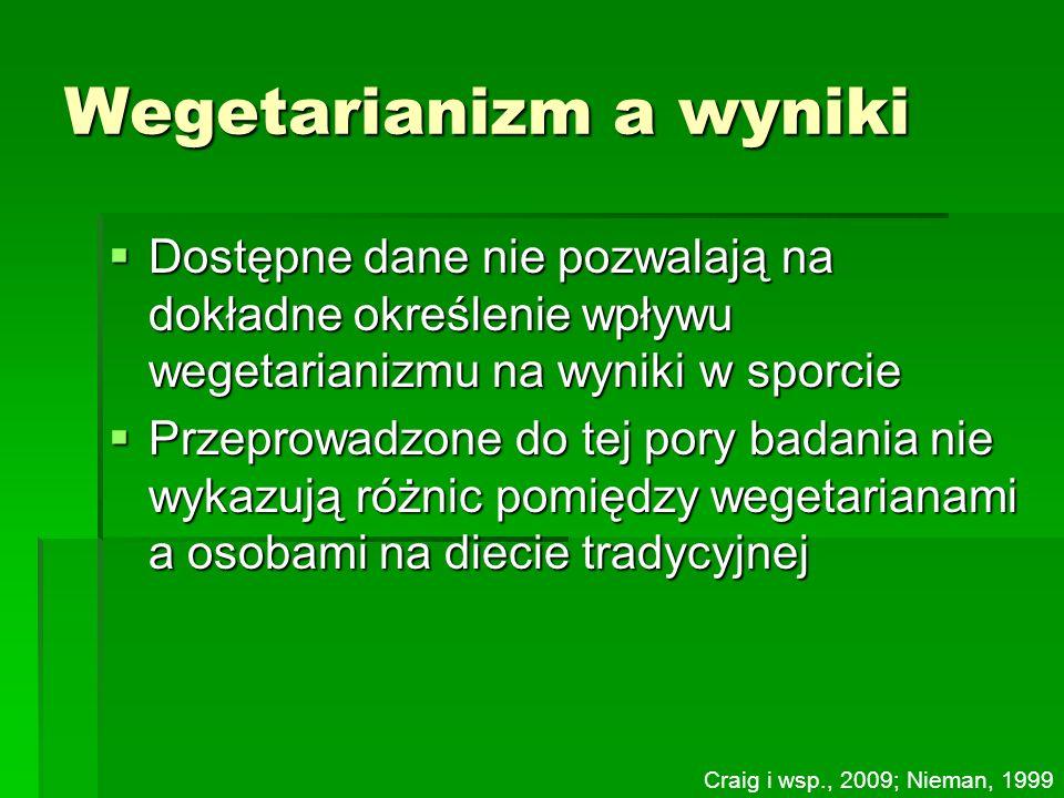 Wegetarianizm a wyniki Dostępne dane nie pozwalają na dokładne określenie wpływu wegetarianizmu na wyniki w sporcie Dostępne dane nie pozwalają na dok