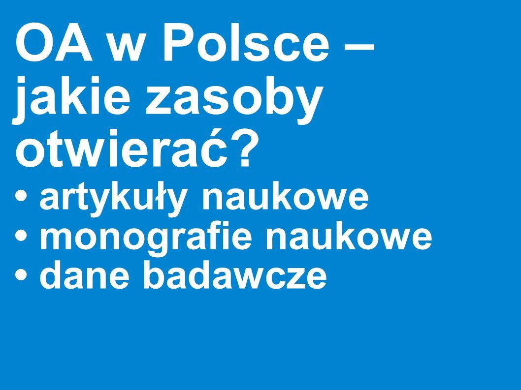 OA w Polsce – jakie zasoby otwierać? artykuły naukowe monografie naukowe dane badawcze
