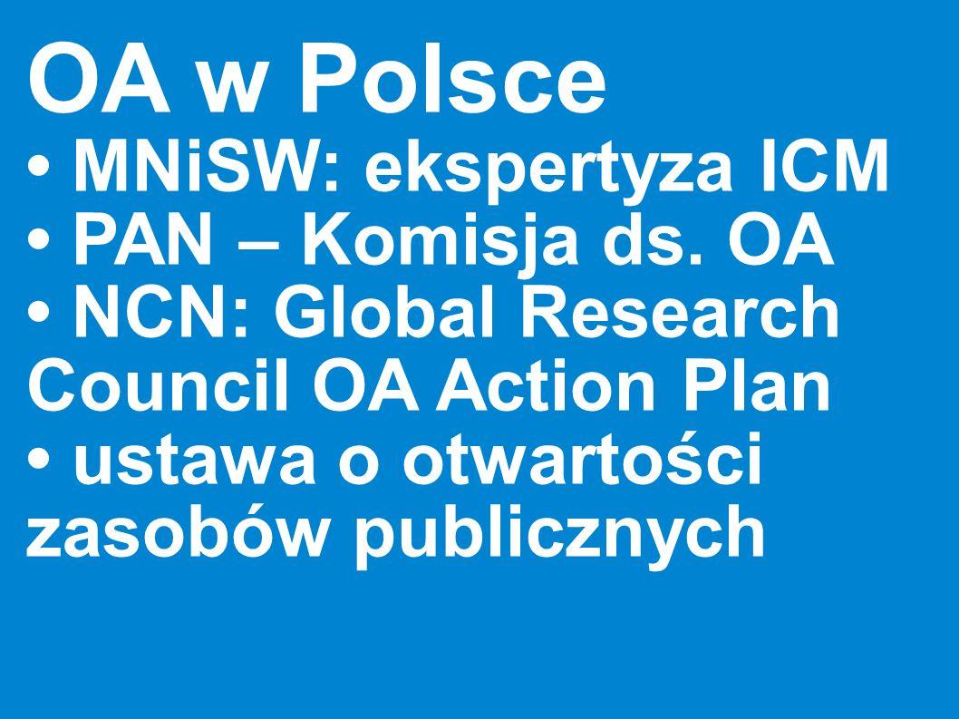 OA w Polsce MNiSW: ekspertyza ICM PAN – Komisja ds. OA NCN: Global Research Council OA Action Plan ustawa o otwartości zasobów publicznych
