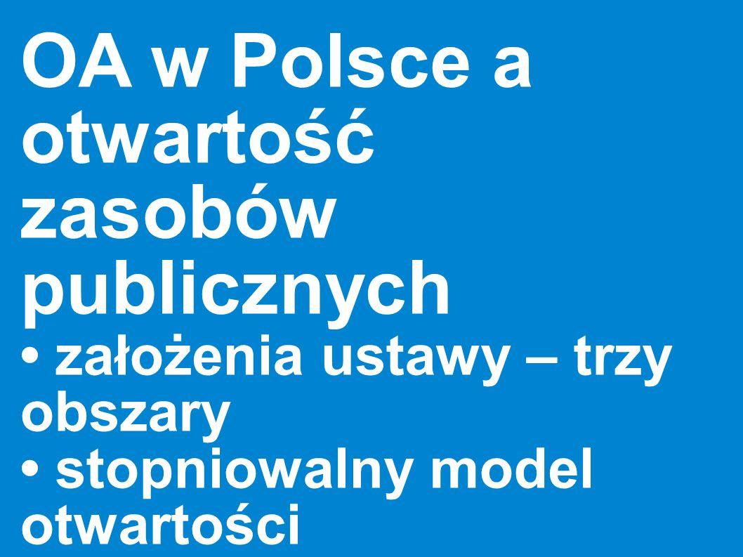 OA w Polsce a otwartość zasobów publicznych założenia ustawy – trzy obszary stopniowalny model otwartości specyfika nauki