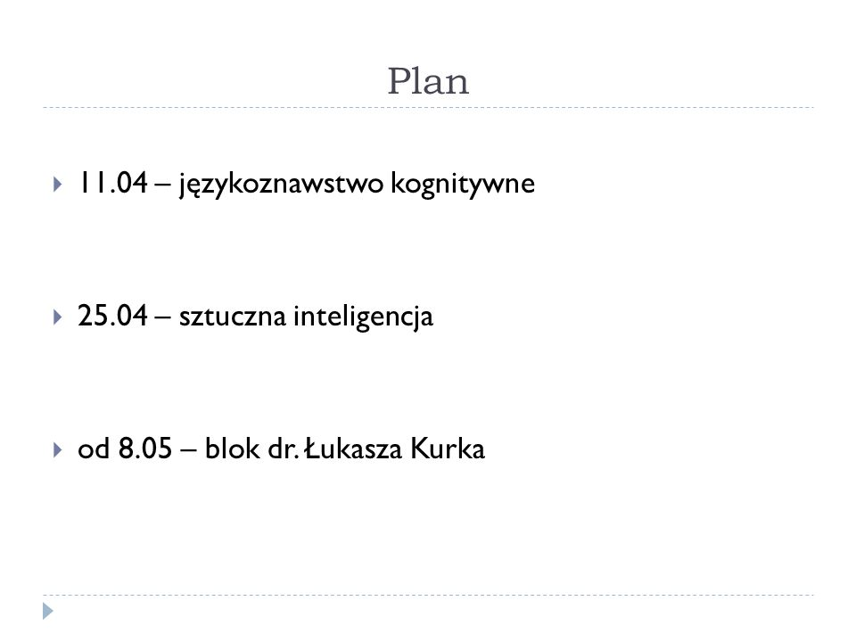 Plan 11.04 – językoznawstwo kognitywne 25.04 – sztuczna inteligencja od 8.05 – blok dr. Łukasza Kurka