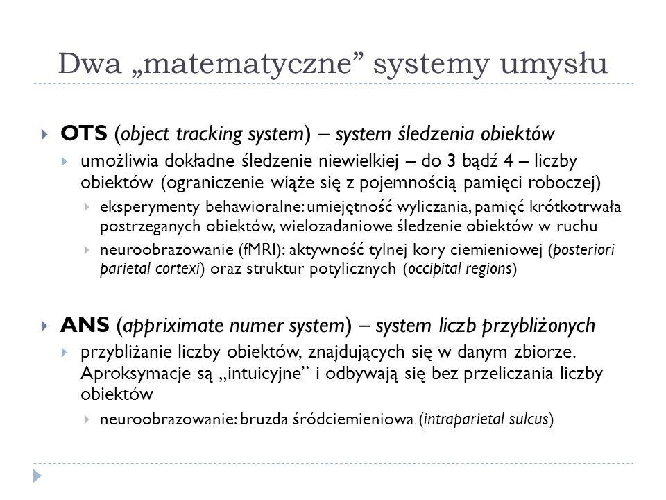 Dwa matematyczne systemy umysłu OTS (object tracking system) – system śledzenia obiektów umożliwia dokładne śledzenie niewielkiej – do 3 bądź 4 – licz