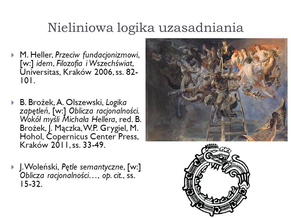 Nieliniowa logika uzasadniania M. Heller, Przeciw fundacjonizmowi, [w:] idem, Filozofia i Wszechświat, Universitas, Kraków 2006, ss. 82- 101. B. Broże