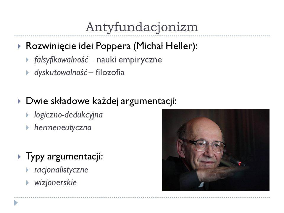 Antyfundacjonizm Rozwinięcie idei Poppera (Michał Heller): falsyfikowalność – nauki empiryczne dyskutowalność – filozofia Dwie składowe każdej argumen