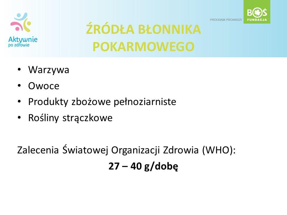 ŹRÓDŁA BŁONNIKA POKARMOWEGO Warzywa Owoce Produkty zbożowe pełnoziarniste Rośliny strączkowe Zalecenia Światowej Organizacji Zdrowia (WHO): 27 – 40 g/