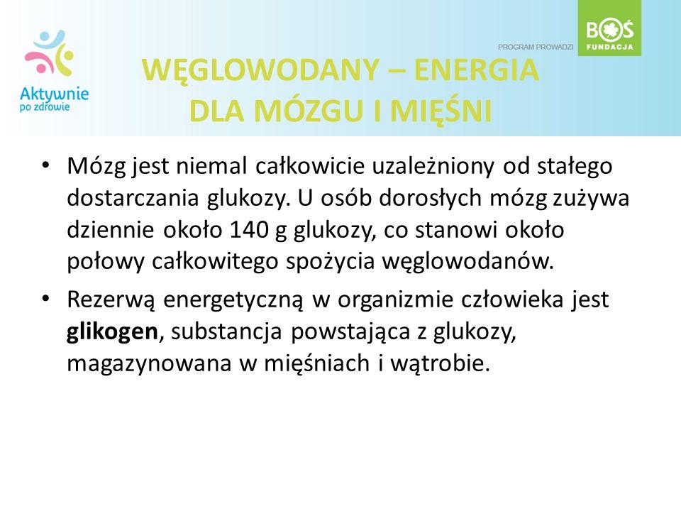 WĘGLOWODANY – ENERGIA DLA MÓZGU I MIĘŚNI Mózg jest niemal całkowicie uzależniony od stałego dostarczania glukozy. U osób dorosłych mózg zużywa dzienni
