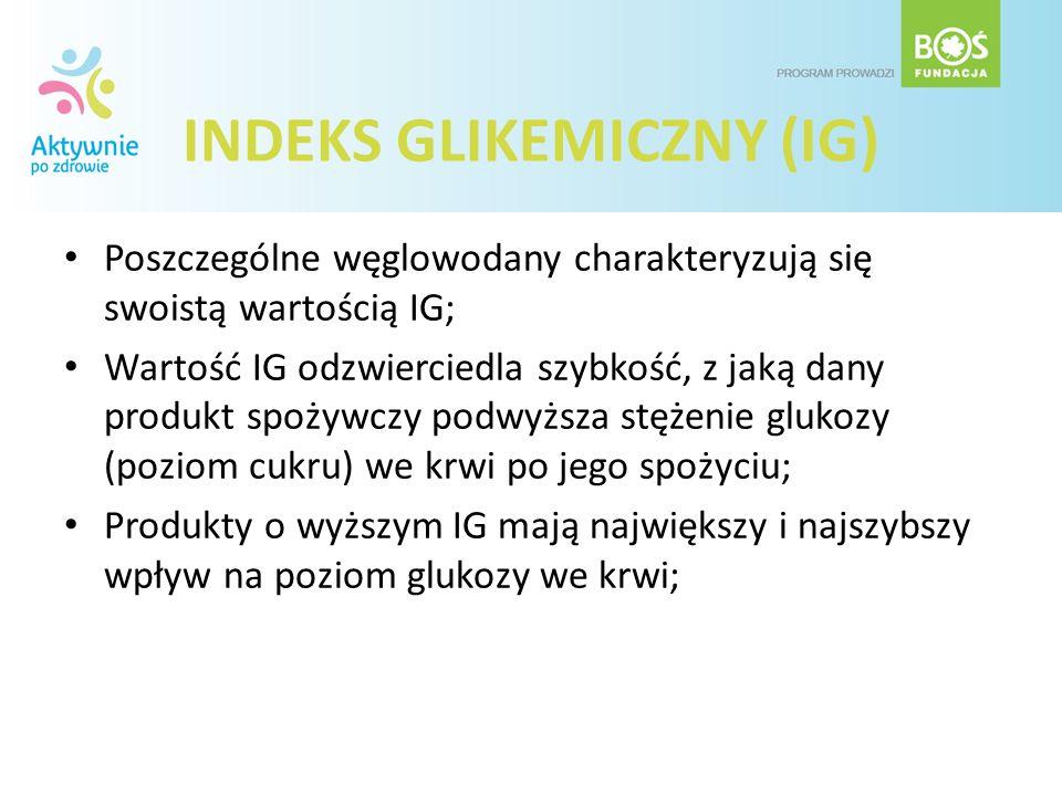 INDEKS GLIKEMICZNY (IG) Poszczególne węglowodany charakteryzują się swoistą wartością IG; Wartość IG odzwierciedla szybkość, z jaką dany produkt spoży