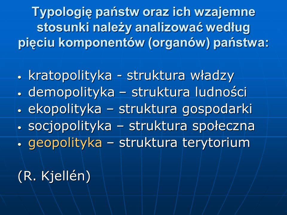 Typologię państw oraz ich wzajemne stosunki należy analizować według pięciu komponentów (organów) państwa: kratopolityka - struktura władzy kratopolit