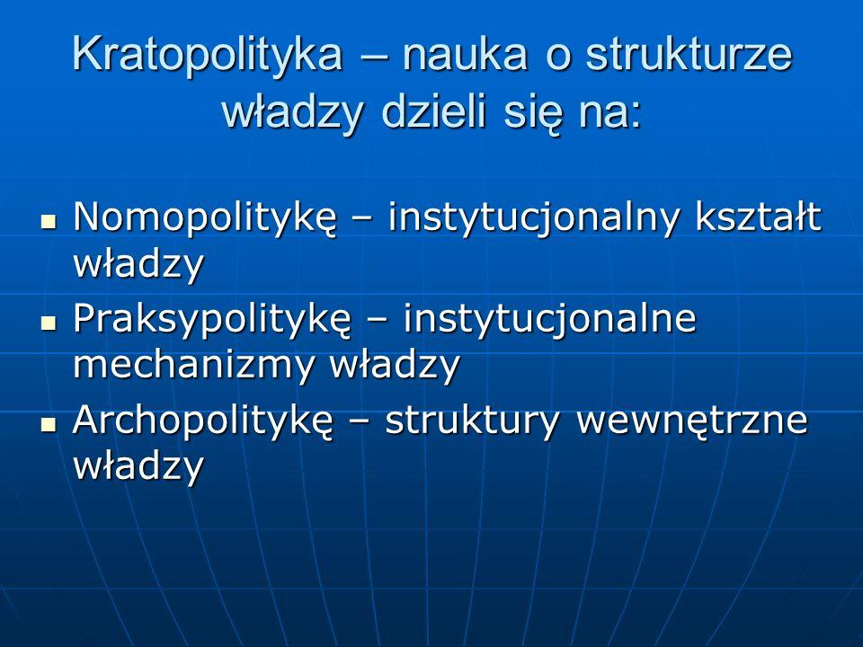 Kratopolityka – nauka o strukturze władzy dzieli się na: Nomopolitykę – instytucjonalny kształt władzy Nomopolitykę – instytucjonalny kształt władzy P