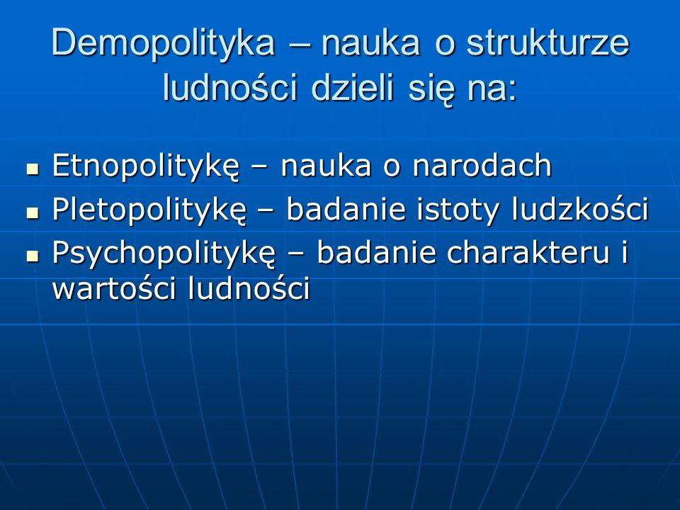 Demopolityka – nauka o strukturze ludności dzieli się na: Etnopolitykę – nauka o narodach Etnopolitykę – nauka o narodach Pletopolitykę – badanie isto