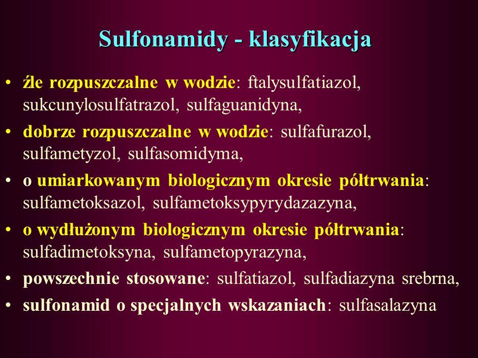 Sulfonamidy – mechanizm działania bakteriostatyczny, blokowanie wczesnego etapu syntezy kwasu foliowego u bakterii, blokowanie kondensacji kwasu paraa