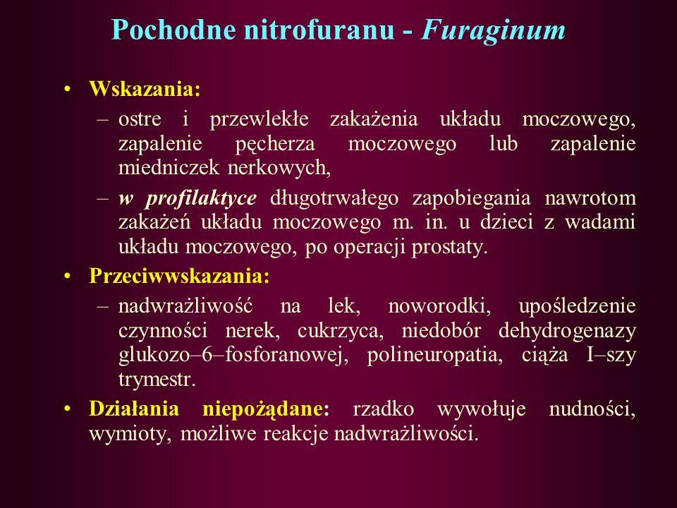 Pochodne nitrofuranu-Nitrofurantoina-Furaginum Farmakokinetyka: –Z przewodu pokarmowego wchłania się szybko. –Z białkami osocza wiąże się w 30–60%.T 0