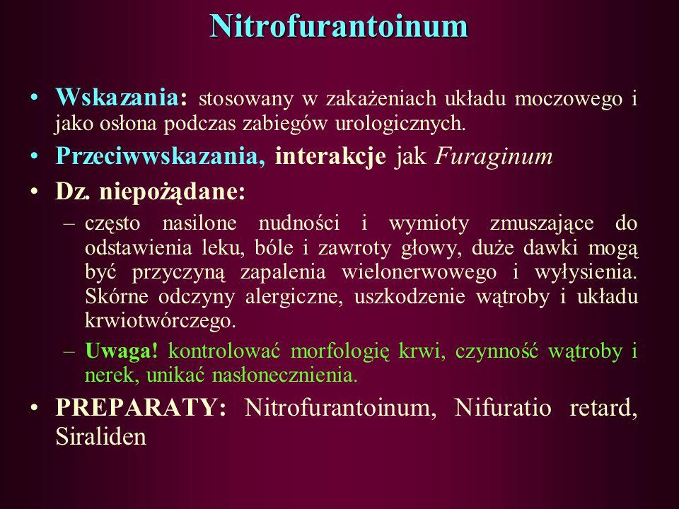 Pochodne nitrofuranu - Furaginum Wskazania: –ostre i przewlekłe zakażenia układu moczowego, zapalenie pęcherza moczowego lub zapalenie miedniczek nerk