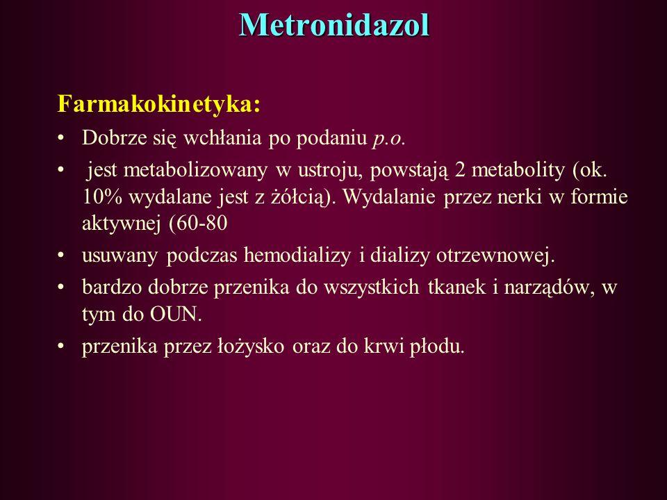 Pochodne nitroimidazolu Mechanizm działania polega na uszkodzeniu DNA poprzez wytwarzanie w komórce metabolitów nitroimidazoli Działają bakteriobójczo