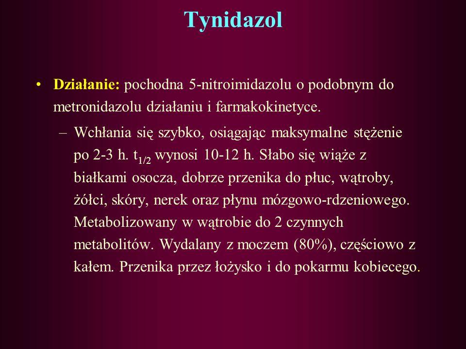 Metronidazol c.d. Działanie niepożądane: Brak łaknienia, metaliczny posmak w ustach, nudności, wymioty, zapalenie języka, odczyny alergiczne: pokrzywk