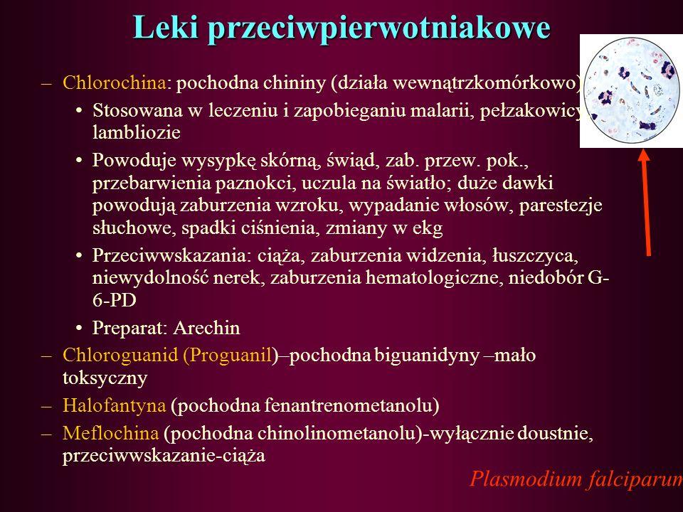 Leki przeciwpierwotniakowe Plasmodium falciparum leki przeciwzimnicze: –Chinina (z drzewa chinowego-Cinchona) –Mepakryna, prymachina –Pirymetamina (po