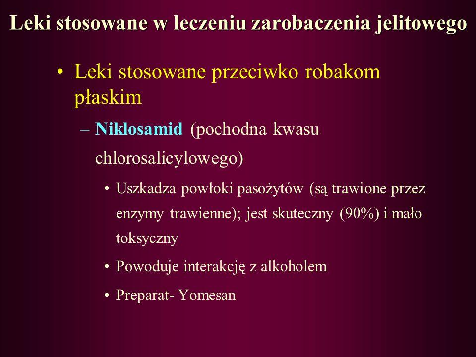 Leki przeciwpierwotniakowe Plasmodium falciparum –Chlorochina: pochodna chininy (działa wewnątrzkomórkowo) Stosowana w leczeniu i zapobieganiu malarii