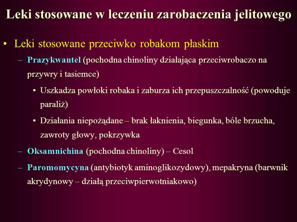 Leki stosowane w leczeniu zarobaczenia jelitowego Leki stosowane przeciwko robakom płaskim –Niklosamid (pochodna kwasu chlorosalicylowego) Uszkadza po