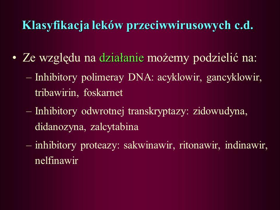 Klasyfikacja leków przeciwwirusowych Ze względu na budowę chemiczną możemy wyróżnić następujące grupy: –Antymetabolity nukleotydów pirymidynowych i pu