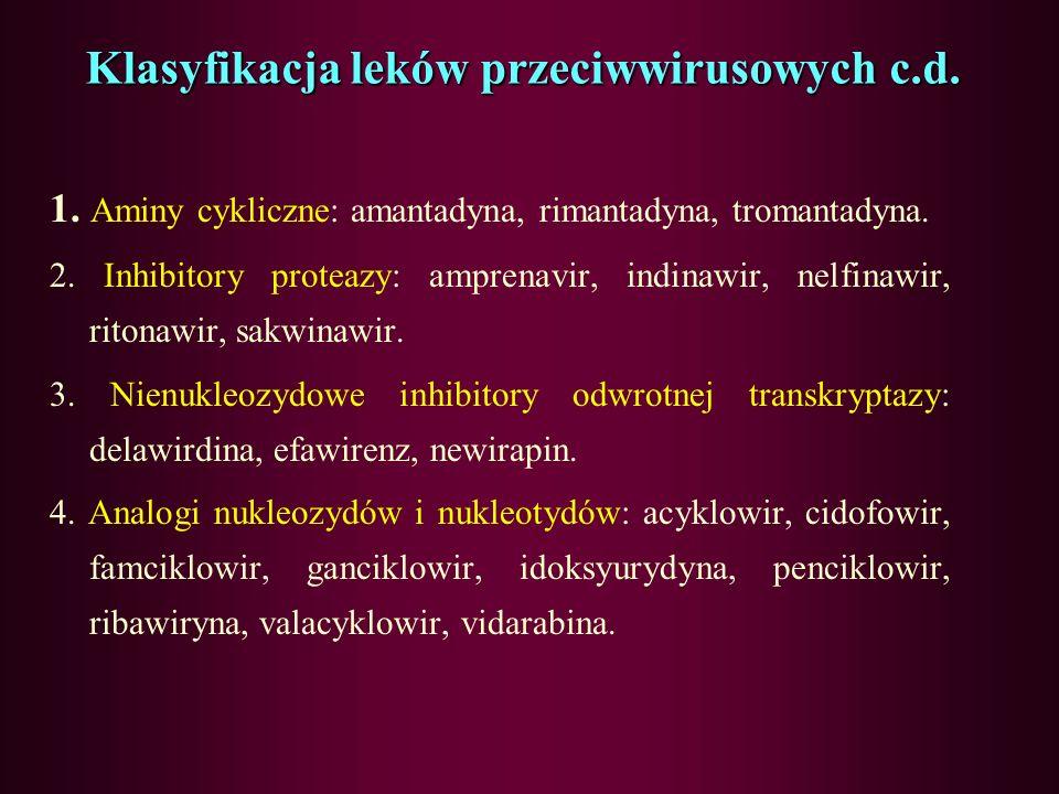 Klasyfikacja leków przeciwwirusowych c.d. działanieZe względu na działanie możemy podzielić na: –Inhibitory polimeray DNA: acyklowir, gancyklowir, tri