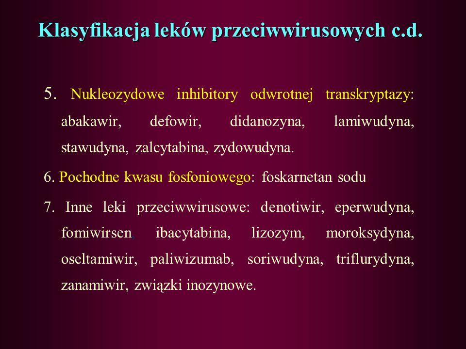 Klasyfikacja leków przeciwwirusowych c.d. 1. Aminy cykliczne: amantadyna, rimantadyna, tromantadyna. 2. Inhibitory proteazy: amprenavir, indinawir, ne