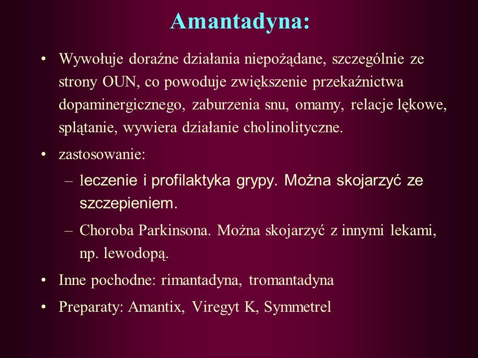Amantadyna: Jest jednym z najstarszych leków przeciwwirusowych, stosowana także w leczeniu choroby Parkinsona. Hamuje odsłanianie i uwalnianie wirusow