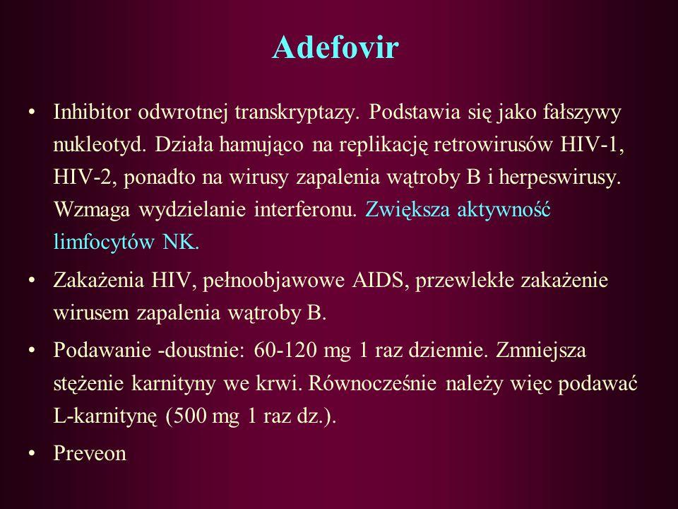 Moroksydyna: Jest pochodną biguanidu hamującą namnażanie się niektórych wirusów. Pobudza również mechanizmy obronne organizmu (fagocytozę i wytwarzani