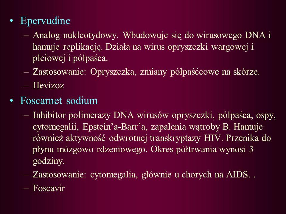 Didanosine –Analog nukleozydowy. Hamuje odwrotną transkryptazę HIV. Okres półtrwania wynosi 1,5 godziny. Nie wolno podawać przy zapaleniu trzustki –Za