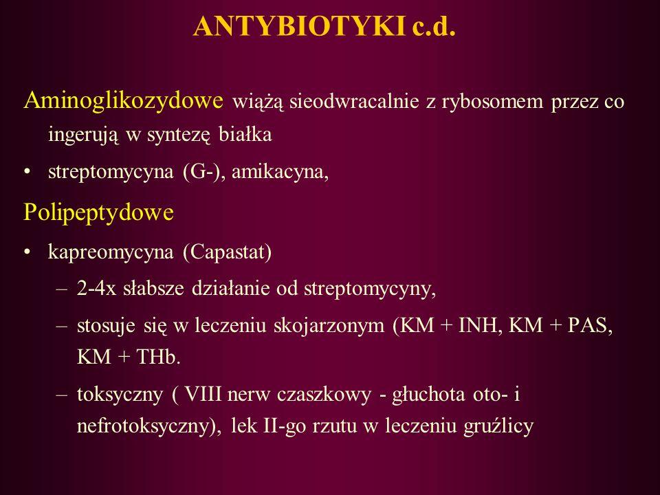 ANTYBIOTYKI Ansamycynowe Ryfampicyna (RMP)– półsyntetyczny antybiotyk –działa na Gram+ i gram-, na prątki, –3-[(4-metylo-1-piperazynylo)-imino]-metylo