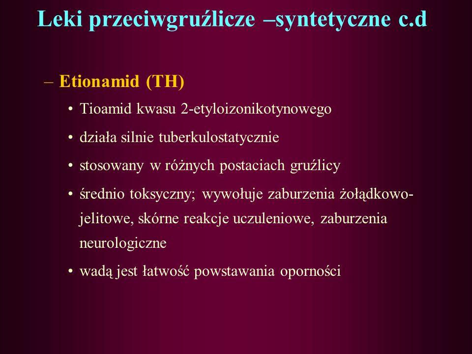 Leki przeciwgruźlicze –syntetyczne c.d 2) Amidy –Pyrazinamid (PZA) Amid kwasu 2-pirazynokarboksylowego Krótkoterminowy lek p/gruź (odprątkowanie przez