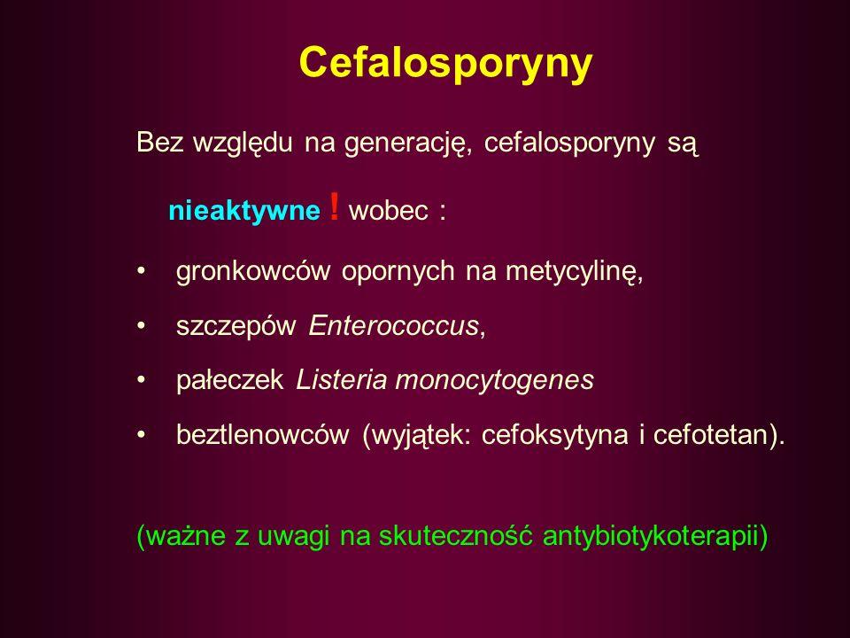 Cefalosporyny Cefalosporyny dzielą się na cztery generacje, które różnią się: spektrum przeciwbakteryjnym, wrażliwością na działanie β-laktamaz właści