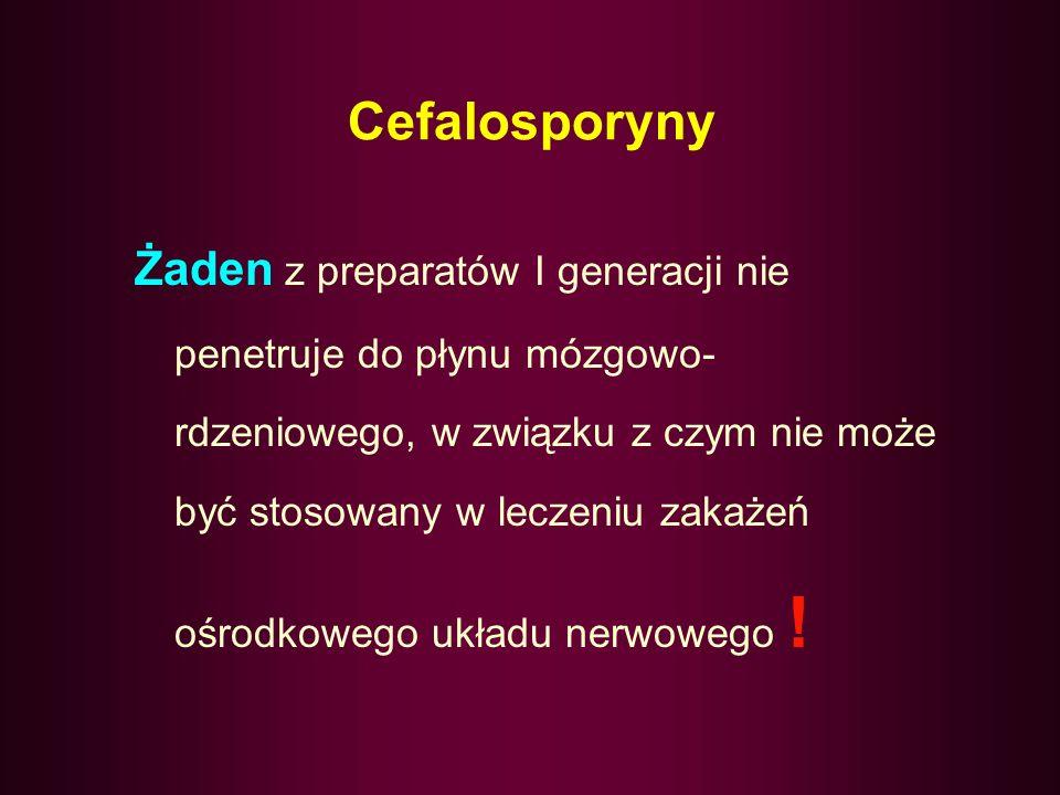 Cefalosporyny Bez względu na generację, cefalosporyny są nieaktywne ! wobec : gronkowców opornych na metycylinę, szczepów Enterococcus, pałeczek Liste