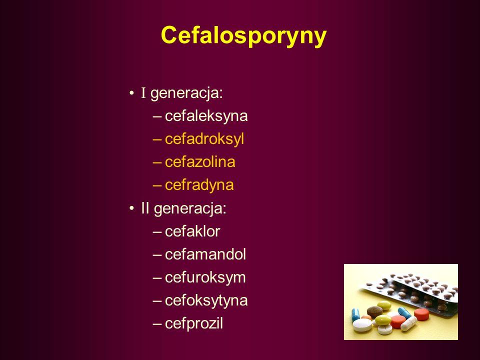 Cefalosporyny Żaden z preparatów I generacji nie penetruje do płynu mózgowo- rdzeniowego, w związku z czym nie może być stosowany w leczeniu zakażeń o