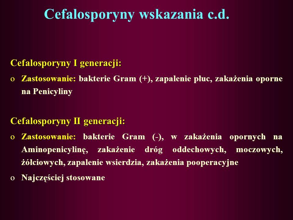 Cefalosporyny wskazania c.d. Grupa III bardzo silne działanie przeciwbakteryjne, stosowane wyłącznie w ciężkich zakażeniach, z reguły u chorych hospit