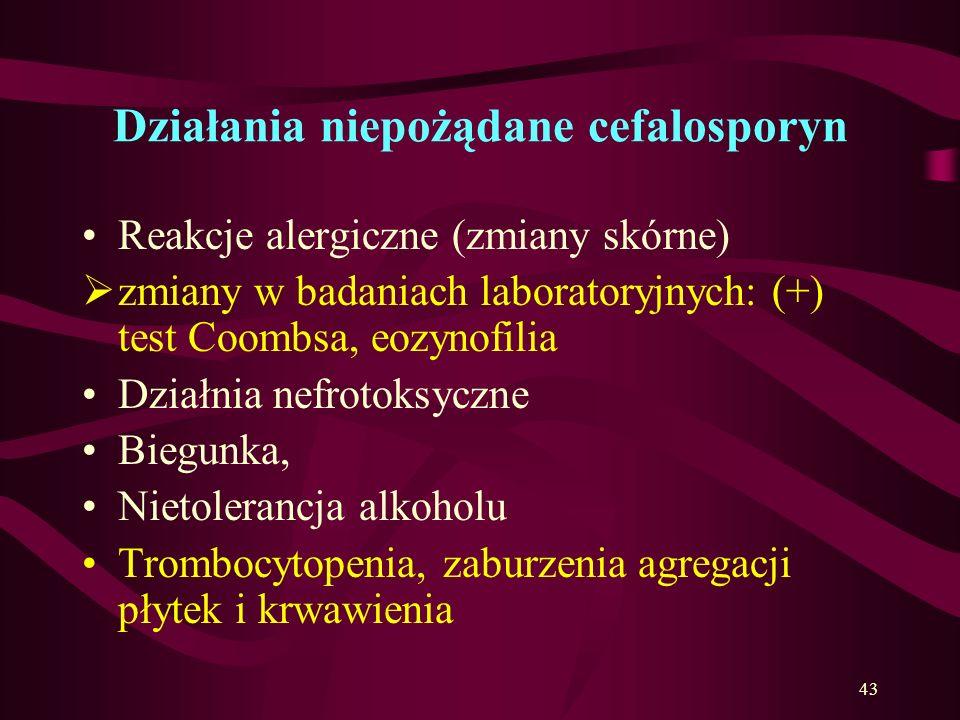 Cefalosporyny wskazania c.d. Cefalosporyny III generacji: oZastosowanie: bakterie Gram (-), zakażenia układu pokarmowego, oddechowego, moczowego, zapa